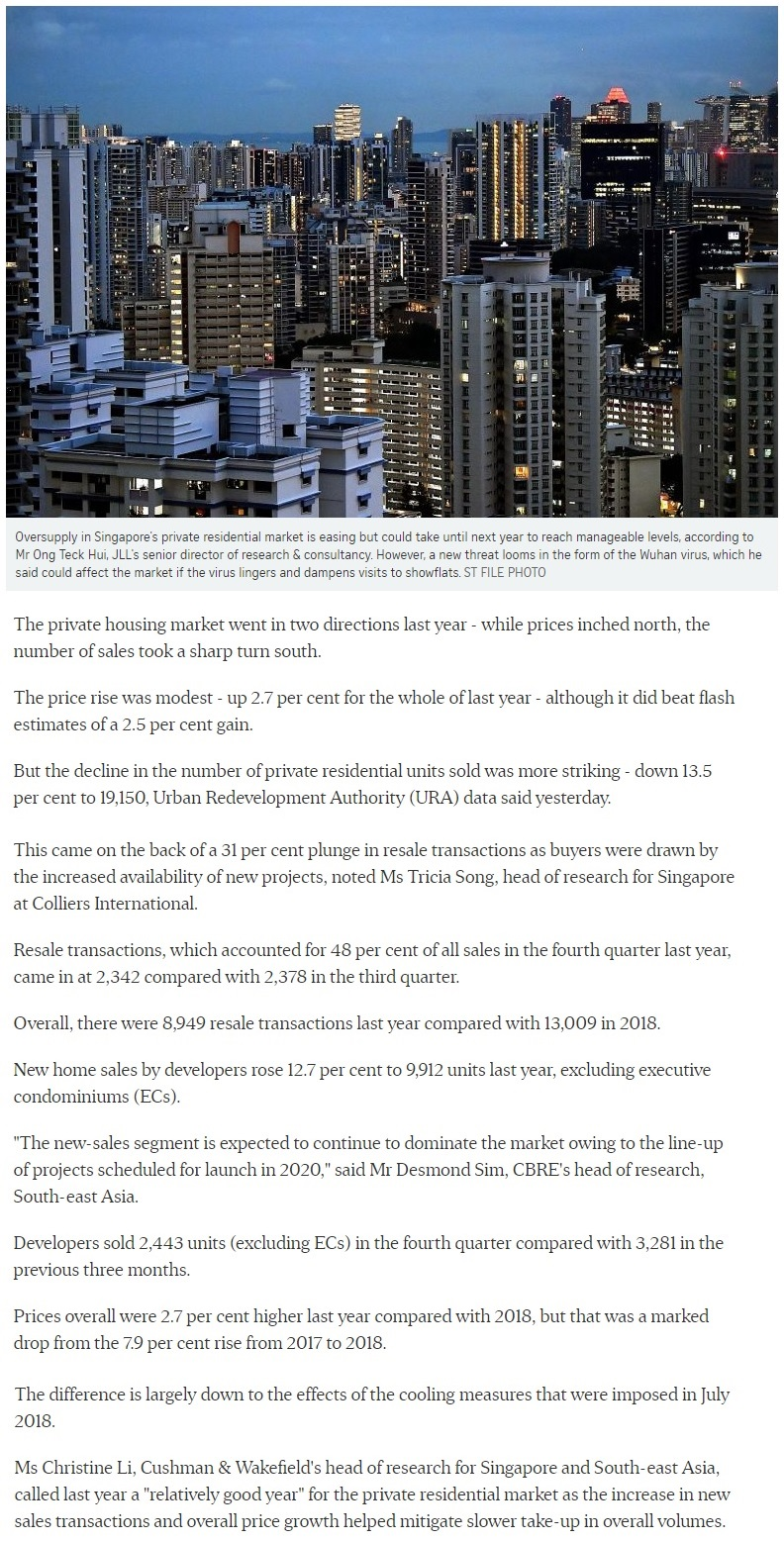 Myra - Singapore private home prices inch up 2.7% for 2019 Part 1